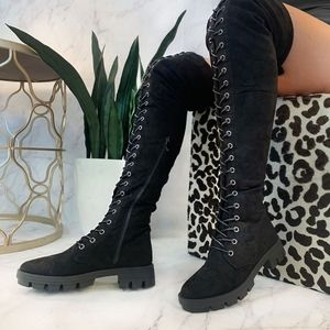 Just In!🖤Lace Me Up Lug Sole Thigh-High Boots